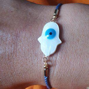 Adjustable Mother Of Pearl Hamsa Evil eye String